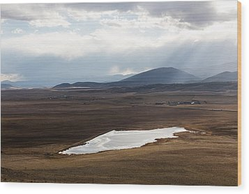 Sweeping Plain And A Small Lake Between Mountain Foothills Near Fairplay In Park County Wood Print by Carol M Highsmith