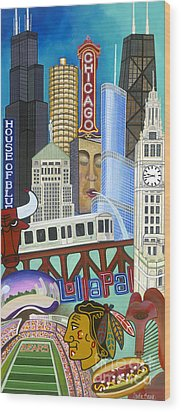 Wood Print featuring the painting Sweet Home Chicago by Carla Bank