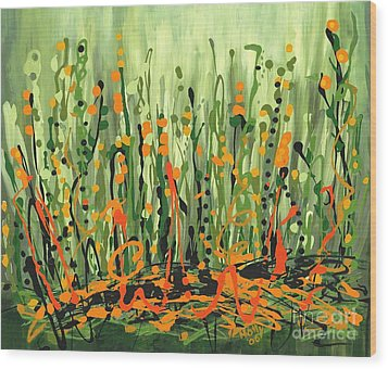 Wood Print featuring the painting Sweet Jammin' Peas by Holly Carmichael