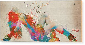 Wood Print featuring the digital art Sweet Jenny Bursting With Music Cropped by Nikki Marie Smith