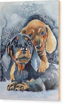 Sweet Little Dogs Wood Print