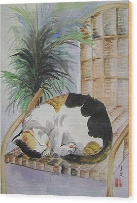 Sweet Nap Wood Print by Lian Zhen