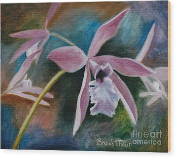 Wood Print featuring the painting Sweet Orchid by Brenda Thour