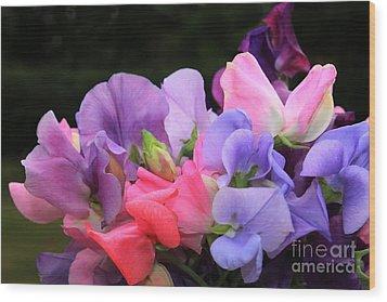 Sweet Pea Floral Wood Print by Marjorie Imbeau