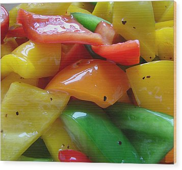 Sweet Peppers Wood Print