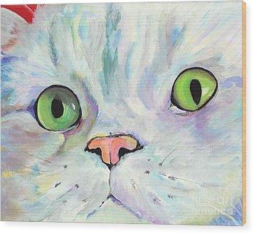 Sweet Puss Wood Print by Pat Saunders-White