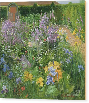 Sweet Rocket - Foxgloves And Irises Wood Print