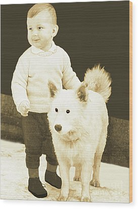 Sweet Vintage Toddler With His White Mutt Wood Print