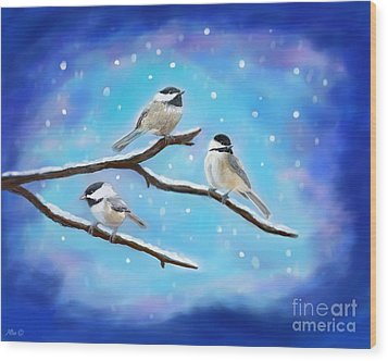 Wood Print featuring the painting Sweetest Winter Birdies by Leslie Allen