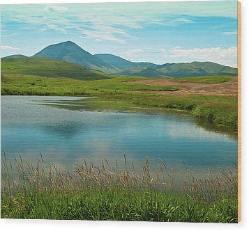Sweetgrass Hills Fishing Hole Wood Print by Harry Strharsky