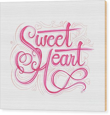 Wood Print featuring the drawing Sweetheart by Cindy Garber Iverson