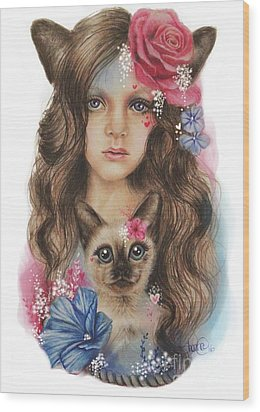 Wood Print featuring the mixed media Sweetheart by Sheena Pike