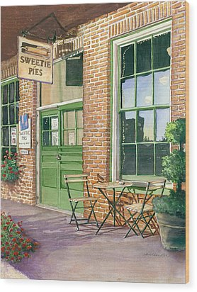 Wood Print featuring the painting Sweetie Pies Bakery by Gail Chandler