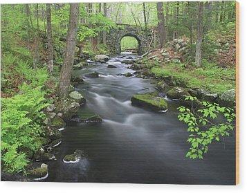 Swift River And Keystone Bridge Quabbin Reservoir Wood Print by John Burk