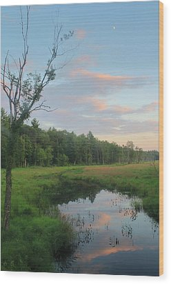 Swift River Sunset Wood Print by John Burk