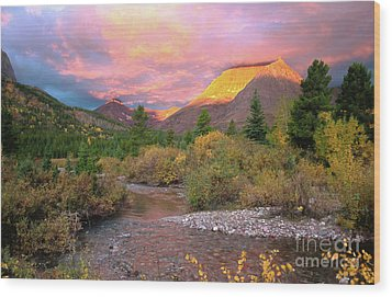 Swiftcurrent Sunrise Wood Print by Dave Hampton Photography