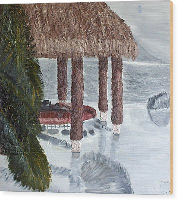 Swim To A Beach Bar Cool Huh Wood Print