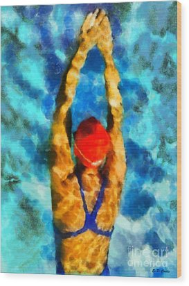 Swimmer Wood Print by Elizabeth Coats