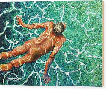 Swimmer Wood Print by Paul Sierra