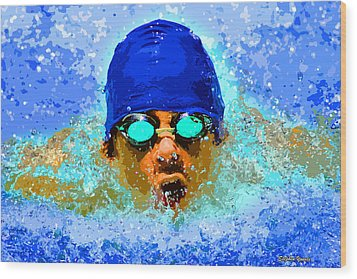 Swimmer Wood Print by Stephen Younts