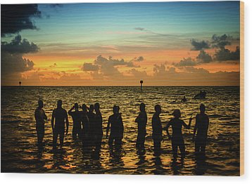Swimmers Sunrise Wood Print