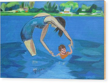 Wood Print featuring the painting Swimmin' by Betty Pieper