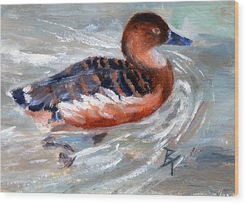 Wood Print featuring the painting Swimming Aceo by Brenda Thour