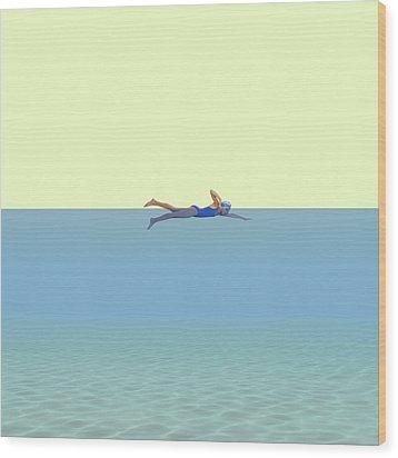 Swimming Girl Wood Print