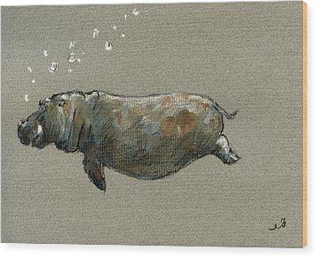 Swimming Hippo Wood Print by Juan  Bosco