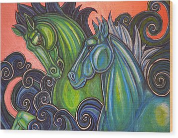 Swimming Horses  Wood Print by Lynnette Shelley