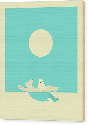 Swimming Lessons Wood Print by Jazzberry Blue