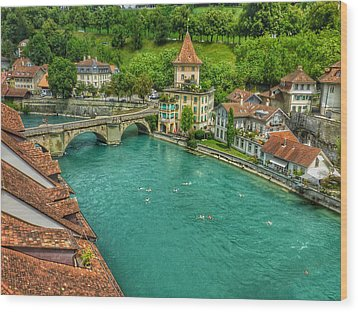 Wood Print featuring the photograph Swimming The River Aare , Bern  by Connie Handscomb