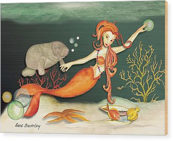 Wood Print featuring the painting Swimming With The Manatees by Anne Beverley-Stamps