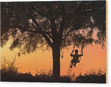 Swing Wood Print by Marji Lang