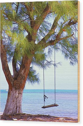 Swing Me... Wood Print by Karen Wiles