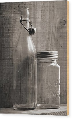 Jar And Bottle  Wood Print