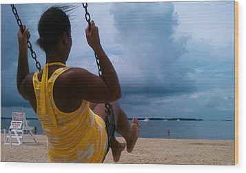 Swinging On A Stormy Sandy Beach Wood Print by Paul SEQUENCE Ferguson             sequence dot net