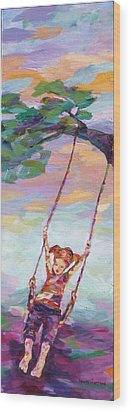 Swinging With Sunset Energy Wood Print by Naomi Gerrard