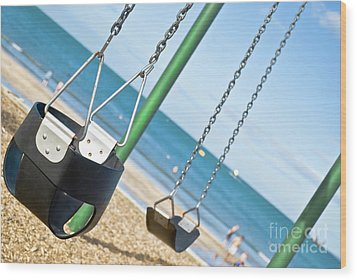 Wood Print featuring the photograph Swings On The Ocean Beach by Yurix Sardinelly