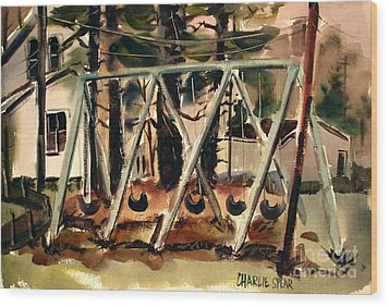 Wood Print featuring the painting Swings Under The Pines Before The Storm Plein Air by Charlie Spear