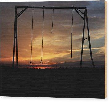 Swingset Sunset Wood Print