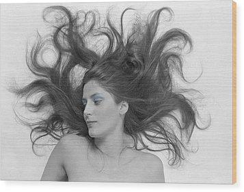 Swirl Girl Wood Print by Gerard Fritz