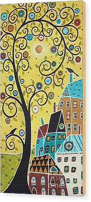 Swirl Tree Two Birds And Houses Wood Print by Karla Gerard