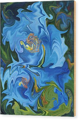 Swirled Blue Poppies Wood Print