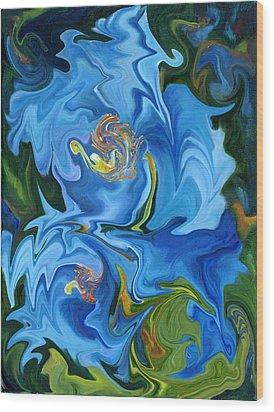 Swirled Blue Poppies Wood Print by Renate Nadi Wesley