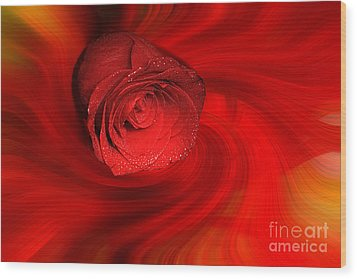 Swirling Rose Wood Print