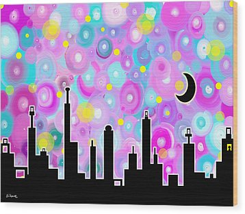 Wood Print featuring the painting Swirly Metropolis by Shawna Rowe