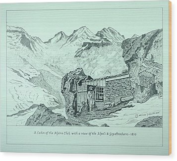 Swiss Alpine Cabin Wood Print