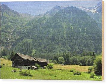 Swiss Mountain Home Wood Print by Jeffrey Kolker