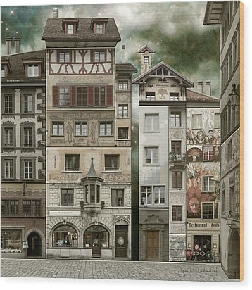 Swiss Reconstruction Wood Print by Joan Ladendorf